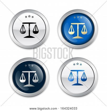 Justice seals or icons with weight scale symbol. Glossy silver seals or buttons.