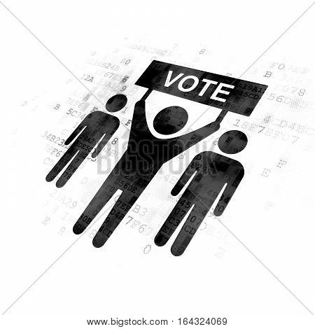 Politics concept: Pixelated black Election Campaign icon on Digital background