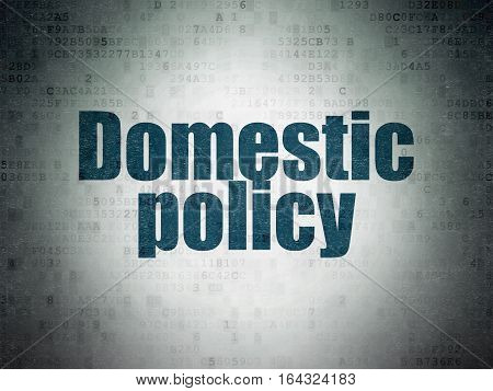 Political concept: Painted blue word Domestic Policy on Digital Data Paper background