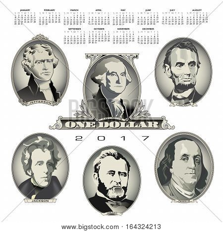 A 2017 calendar with Presidential oval bill elements for Print or Web
