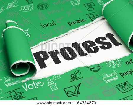 Politics concept: black text Protest under the curled piece of Green torn paper with  Hand Drawn Politics Icons, 3D rendering
