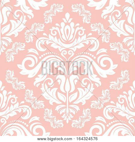 Seamless classic vector pink and white pattern. Traditional orient ornament. Classic vintage background