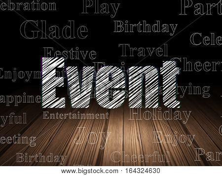 Entertainment, concept: Glowing text Event in grunge dark room with Wooden Floor, black background with  Tag Cloud