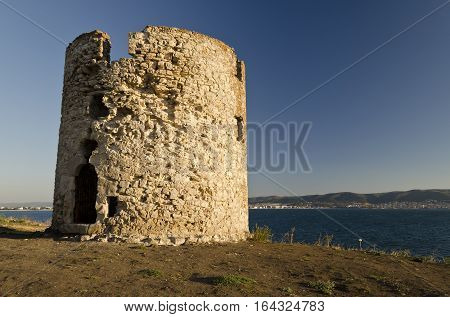 Ruins of the ancient ancient tower at seaside Nessebar Bulgaria