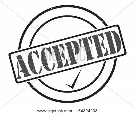 A black accepted stamp seal of approval isolated on a white background