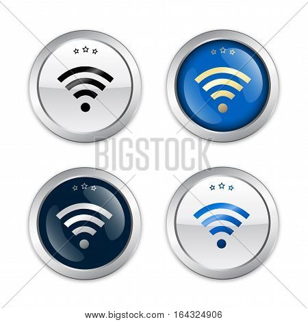 Free Wifi guaranteed seals or icons with Wifi symbol. Glossy silver seals or buttons.