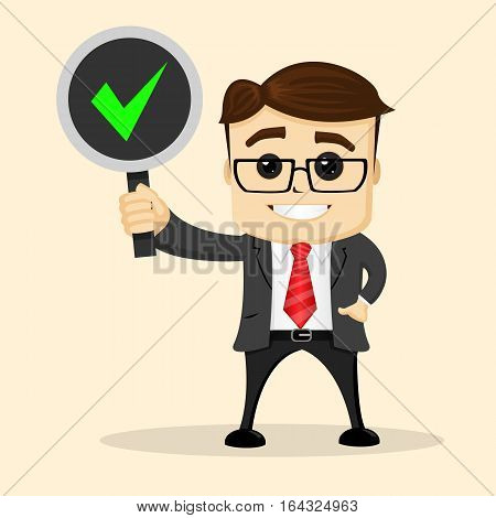 Manager character smiling and standing with a sign in one hand, and another one is in the pocket. Manager character smiling. Sign with check mark.