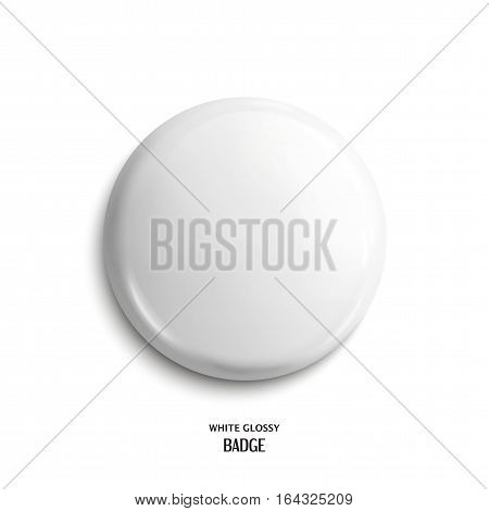 Vector blank, white glossy badge or web button.