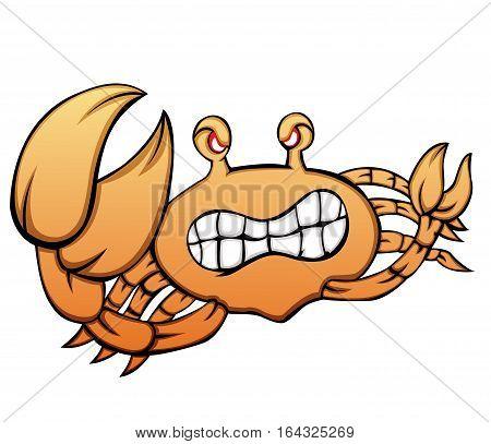 Angry Crab Animal Cartoon Character. Vector Illustration.