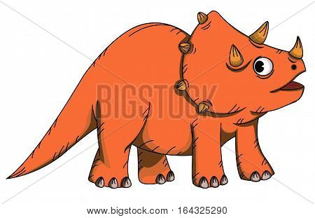 Triceratops Cartoon Prehistoric Animal Character Vector Illustration.