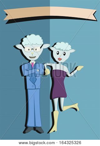 Mr. and Mrs. Sheep Sticker Cartoon Character. Vector Illustration.