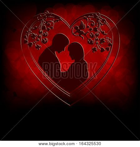 Silhouettes of lovers men and women snuggled up to each other, inside heart pattern on a red background