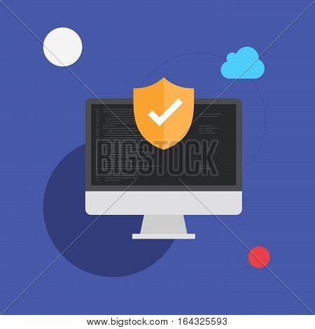 Computer Programming Safety System Vector Flat Illustration