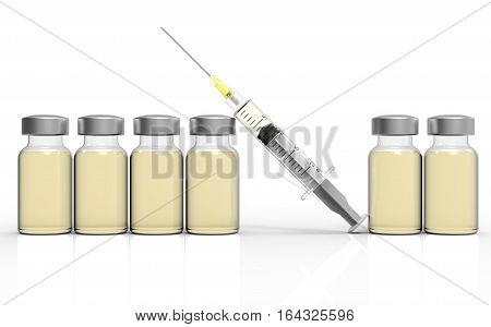 Syringe and vaccine on white background 3D rendering