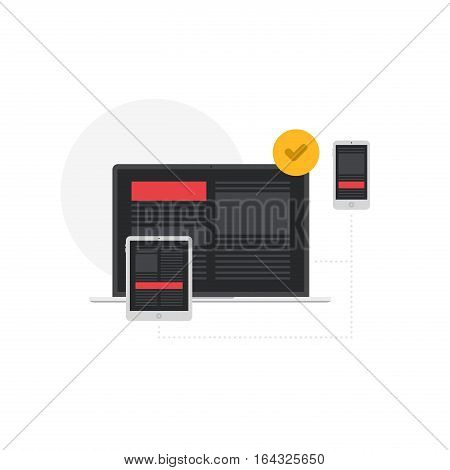 Responsive Adaptive Interface on Devices Screen Flat Vector Illustration