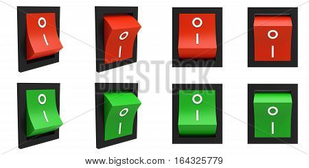 Red and green electric switches different on and off positions isolated on white background 3D rendering