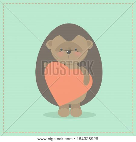 Hedgehog holding a heart. Plush toy hedgehog with heart. Gift. Postcard on Valentine's Day birthday Mother's Day. Vector cartoon