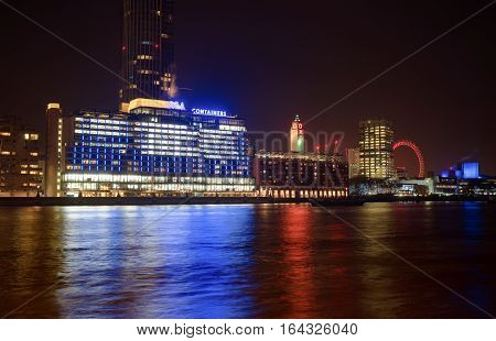 London, UK. 5th January 2017. A capture of London's south bank including OXO Wharf and Tower with skyscrapers rising around it. Captured at night on a long exposure.
