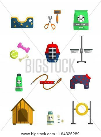 Dog care icons.  Different dog supplies. Elements for pet store