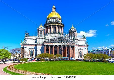 St. Isaac's Cathedral in St. Petersburg on a sunny day in May