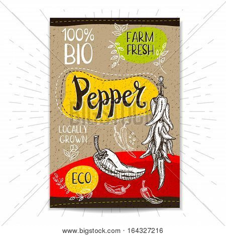 Colorful label in sketch style, food, spices, cardboard textured background. Pepper Vegetables. Bio, eco, farm, fresh. locally grown. Hand drawn vector illustration