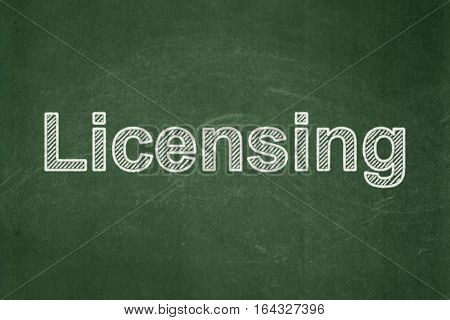 Law concept: text Licensing on Green chalkboard background
