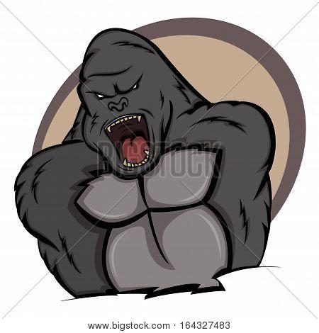 Angry Gorilla Cartoon Animal Character. Vector Illustration.
