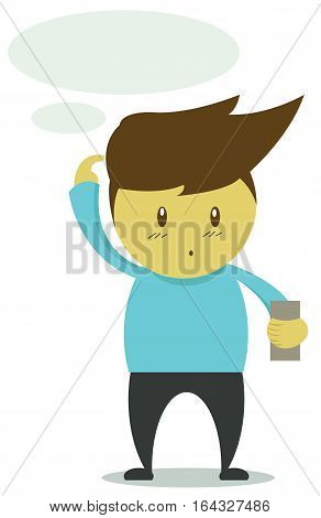 Man Confused Reading Message on Mobile Phone Cartoon Illustration