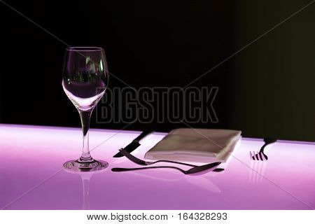 served table in restaurant with top of glass