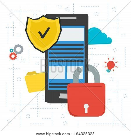 Vector concept data protection and encryption mobile personal informationfor work in internet. Shield and lock on smartphone screen in flat style. Web square banner