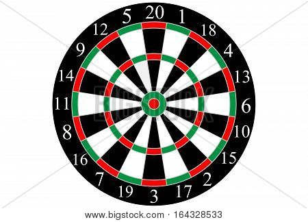Classic shooting dart board. Sport, Vector. Isolated