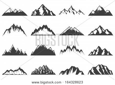 Vintage mountains icons collection for tourism of different shapes and height isolated vector illustration