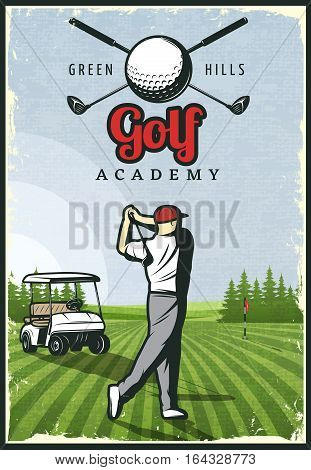 Colorful retro golf poster with player hole cart and club logo on green field vector illustration
