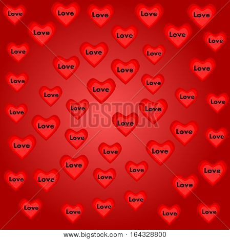 Valentines day backdrop. Valentines day background with hearts and love text. Wallpaper on Valentines day with heart. Art backdrop for Valentines day.