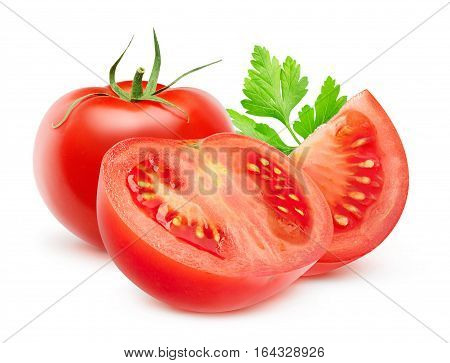 Isolated Cut Tomatoes