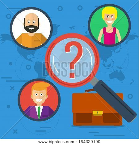 Vector flat concept personal searching. Bag for documents and zoom magnifying glass picking business person around a world on blue background. Web banner