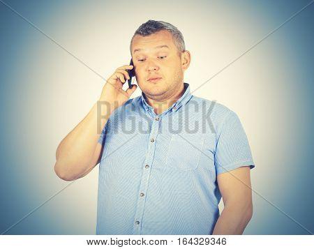 Fat Businessman Talking On The Phone.