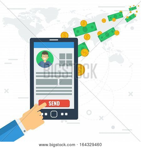 Vector concept of quick mobile transfer money. Sending yellow coins and banknotes from smart phone with businessman hand worldwide. Illustration in flat style. Web infographics