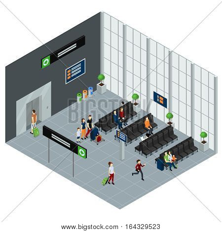 People in waiting hall of airport with information boards isometric design in grey tones vector illustration