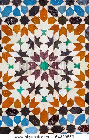 Ali ben Youssef Madrasa exterior ceramic tiles patterns in Marrakesh Morocco