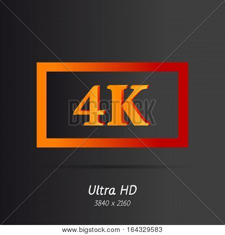 Vector sign ultra HD sign 4K. Red and orange gradient flat letters on black background. Modern resolution monitors for high-quality picture