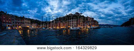 Dramatic cloudy sky over the city of Portofino Liguria Italy