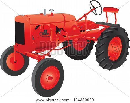 A Red Veteran Farm Tractor isolated on white