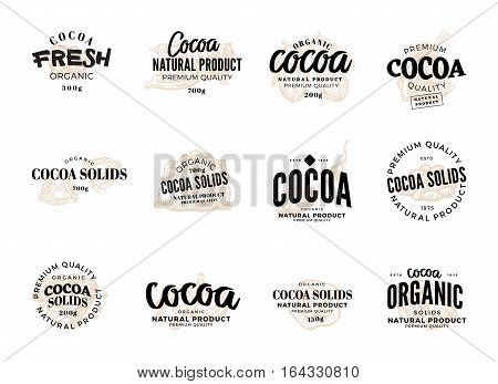 Isolated cocoa logo set with cocoa fresh organic cocoa natural product premium quality descriptions vector illustration