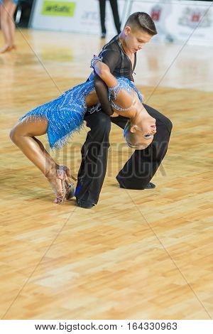Riga Latvia-December 18 2016: Unidentified Dance Couple Performs Youth-2 Latin-American Program on the WDSF Baltic Grand Prix-2106 Championship in December 18 2016 in Riga Latvia.