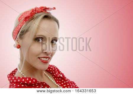 beautiful smiling blonde girl in retro style