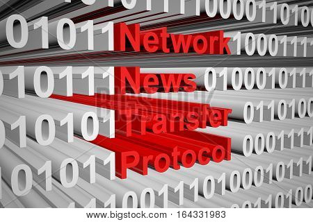 Network News Transfer Protocol in the form of binary code, 3D illustration