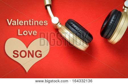 red Valentines Love song Music headphone concept.