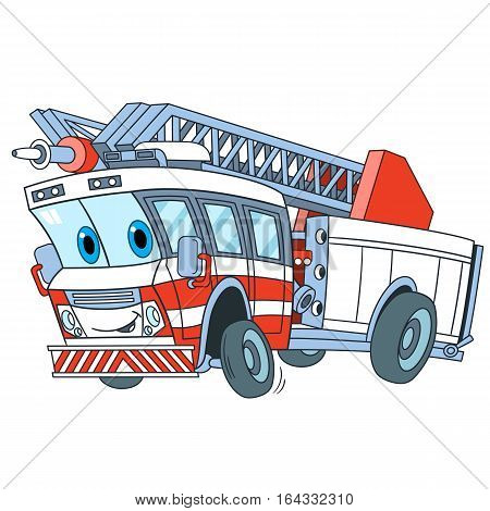 Cartoon emergency transport. Fire truck isolated on white background. Childish vector illustration and colorful book page for kids.