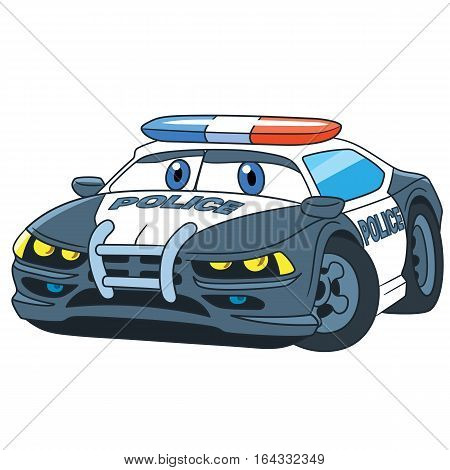 Cartoon emergency transport. Police car isolated on white background. Childish vector illustration and colorful book page for kids.